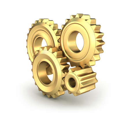 Golden cog gears over white Stock Photo - 14453262