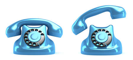 contactus: Retro telephone, front view. Isolated. My own design