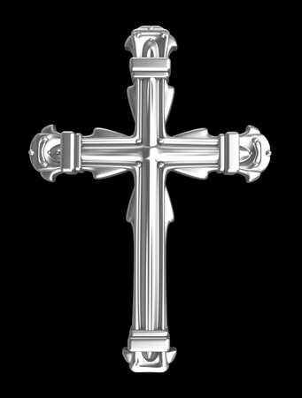 cruz religiosa: Cruz de plata sobre negro Foto de archivo