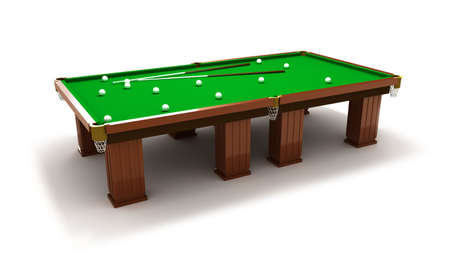 Billiard table with balls and cues photo