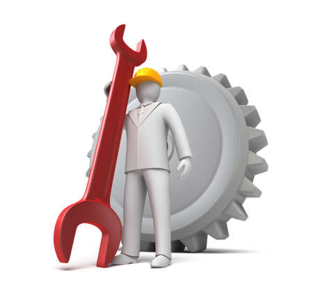man ready to work, 3D man with spanner Stock Photo - 15145603
