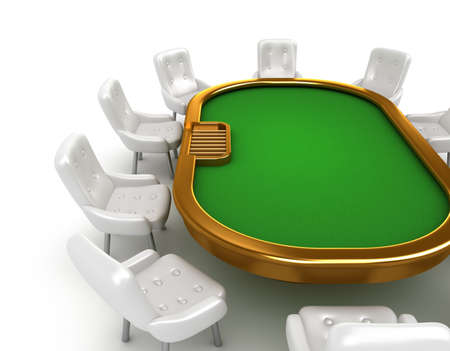 Table de poker avec chaises isol� sur blanc photo