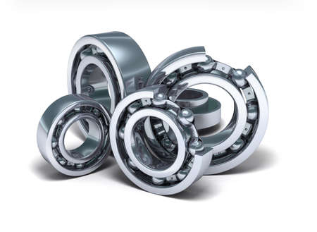 steel balls: Detailed bearings production over white