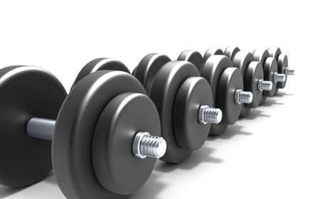 kilograms: Black dumbbells over white background
