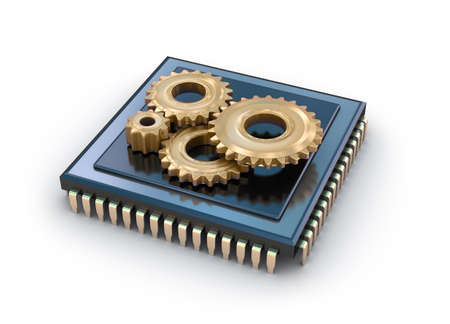 cpu: Cpu and gears, concept icon Stock Photo
