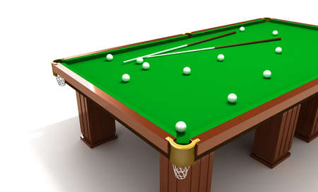 cues: Billiard table with balls and cues