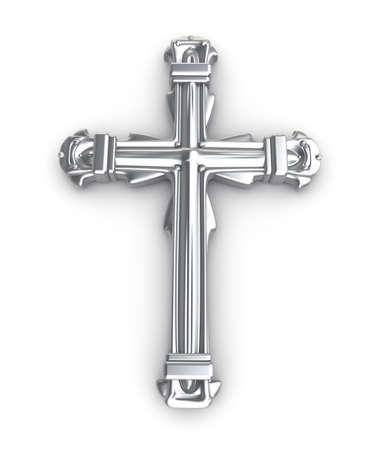захоронение: Серебряный крест на белом фоне Фото со стока