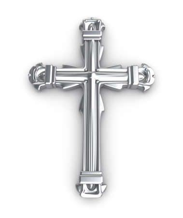 silver cross: Silver cross over white