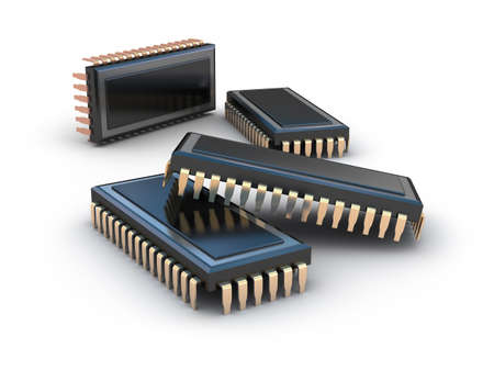 Computer chips isolated on white photo