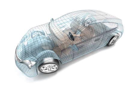Auto-ontwerp, draadmodel Mijn eigen ontwerp