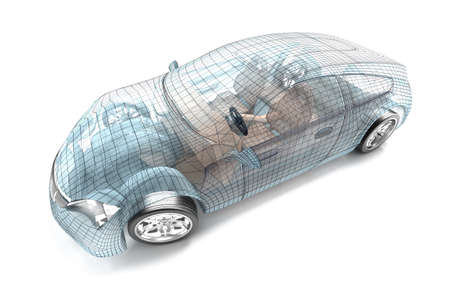 vehicle graphics: Car design, wire model  My own design  Stock Photo