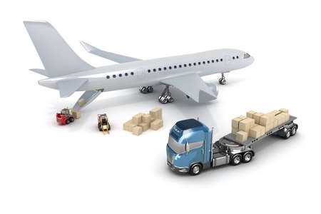 load: Airport   forklift is loading the airplane