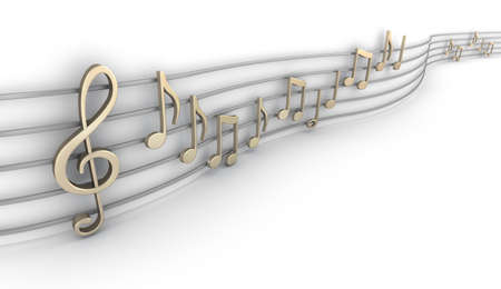 Set of nine musical notes isolated on white photo