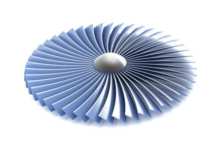 turbine engine: Gas Turbine Jet Engine part over white