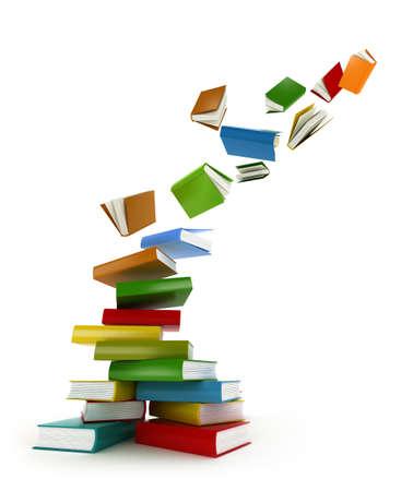 biblioteca: Tornado libros aislados en blanco
