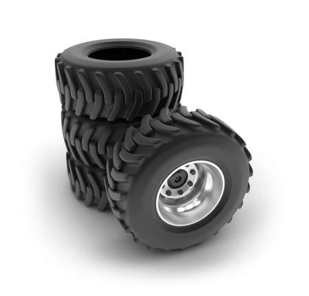 Tractor heavy wheels set isolated on white   My own design Stock Photo - 16074838