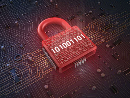 Firewall lock on mainboard , concept background Stock Photo