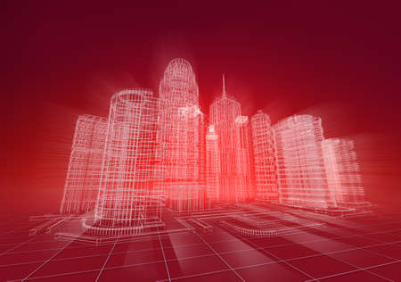 Wire city abstract background photo