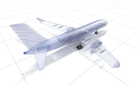 view from the plane: Airplane wire model , isolated on white. My own design