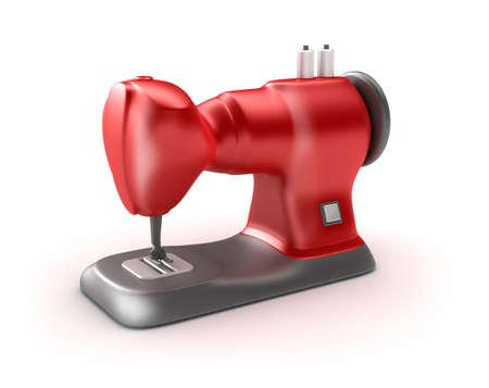 stitching machine: Sewing machine icon over white Stock Photo