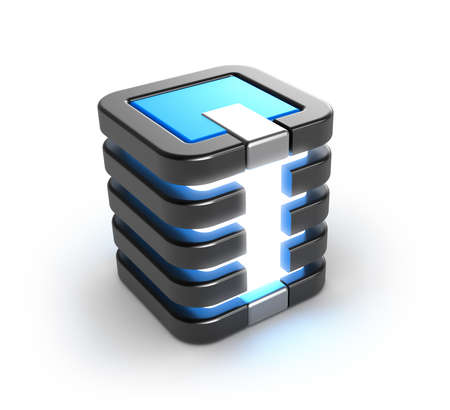 virtual server: Server storage database icon over white