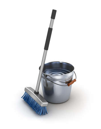 mops: Cleaning equipment. Bucket and mop over white