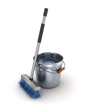dweilen: Reiniging van de apparatuur. Emmer en mop over wit
