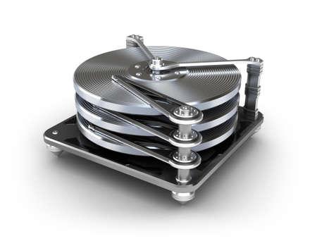 disco duro: Icono de disco duro aislado en blanco