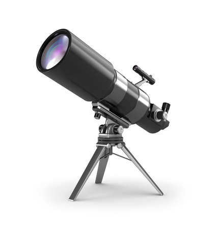 spyglass: Telescope on support over wite Stock Photo