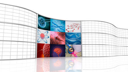 technology collage: Medical background , digital 3D display