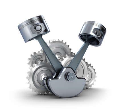 Les pistons et les engrenages, isolé 3d icône Banque d'images