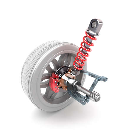 Wheel, shock absorber and brake pads over white photo