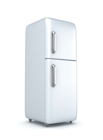 Modern refrigerator over white background photo