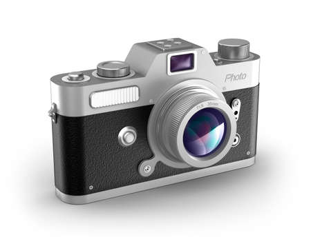 Retro photo camera over white  My own design  Stock Photo - 16798185