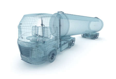 wire mesh: Oil truck with cargo container, wire model  My own design Stock Photo