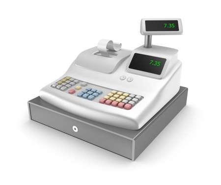 maquina registradora: Caja registradora en el fondo blanco Foto de archivo