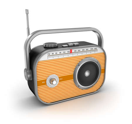 fm radio: Retro radio on white background