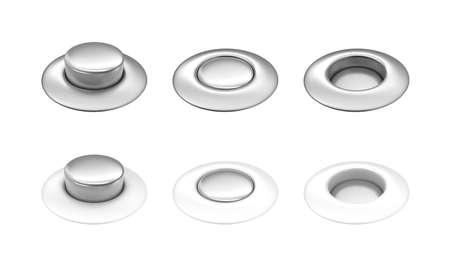 unpressed: Blanco y botones de metal prensado en fila, edio, sin prensar Foto de archivo