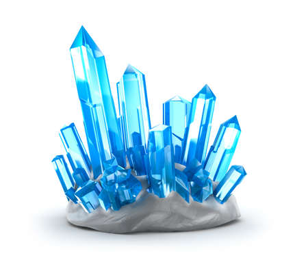 geology: Crystals growing  Isolated on white