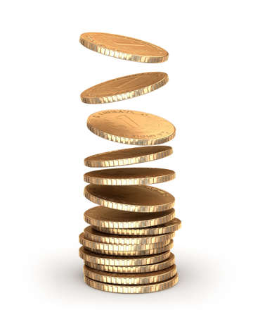 stack of coins: Gold coins falling in pile  Isolated on white Stock Photo