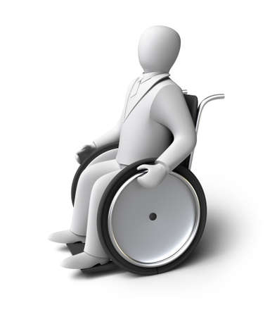 crippled: Disabled person on a wheelchair  Isolated on white