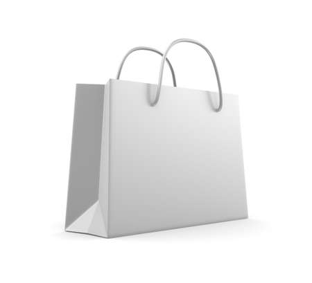 White classic shopping bag  Isolated on white photo