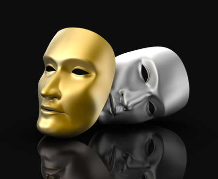 comedy tragedy: Theater masks concept  On black background