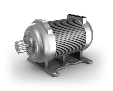 Electric motor  3D image  Isolated on white photo