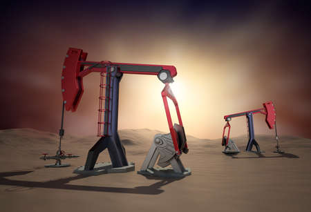 Oil Rig   Pump jack in the desert  3d image photo