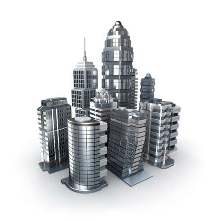panorama city panorama: Rascacielos y Chrome magistral de la ciudad sobre blanco