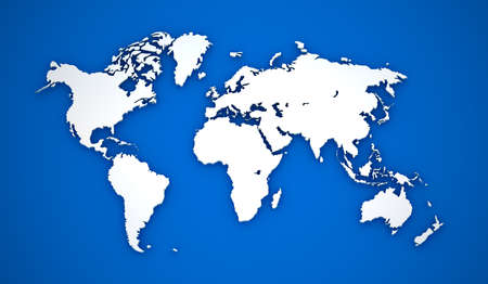 World map. White continents on blue background photo