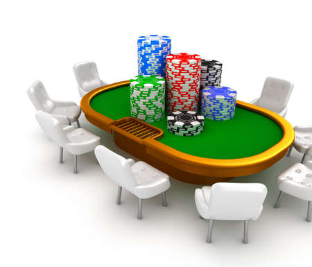 hold'em: Gambling poker table with chairs and chips on it