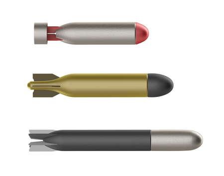 misil: Juego de tres torpedos diferentes aislados en blanco