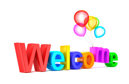 Colorful welcome word with balloons on white background photo